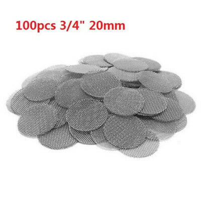 """100pcs 3/4"""" 20mm Pipe Bowl Screens Stainless steel High Quality Tobacco Screen ♫"""