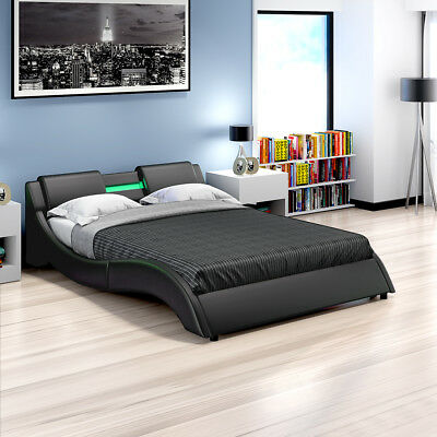 1d33f93d8cde Modern Designer LED Lights Low Bed Frame Double King Size Faux Leather w   Remote