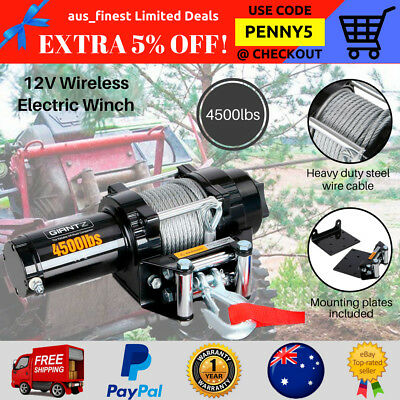 4500LBS Electric Winch Remote Wireless Steel Cables Boats ATV 4WD Car Trucks 12V