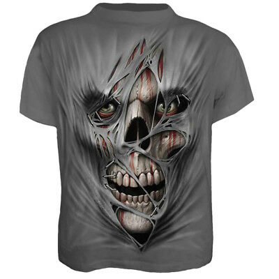 Mens Halloween 3D Print Skull Skeleton T-shirts Tops Short Sleeve Summer Tee AU