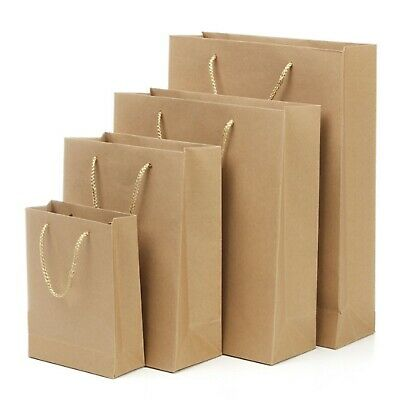 KRAFT Brown Paper Carry Bags with Handle|Shopping Bags|Gift Bags 20 x 15 x 6cm