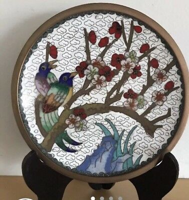 Beautiful Chinese Cloisonne Enamel Bird, Prune Blossom Plate with stand
