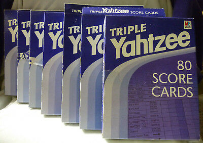 Vintage Lot 7 Boxes Triple Yahtzee 80 Score Cards Pads Milton Bradley Dice Game