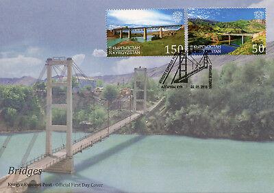 Kyrgyzstan KEP 2018 FDC Bridges Europa 2v Set Cover Architecture Tourism Stamps