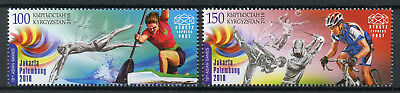 Kyrgyzstan KEP 2018 MNH Asian Games Indonesia 2v Set Cycling Golf Sports Stamps