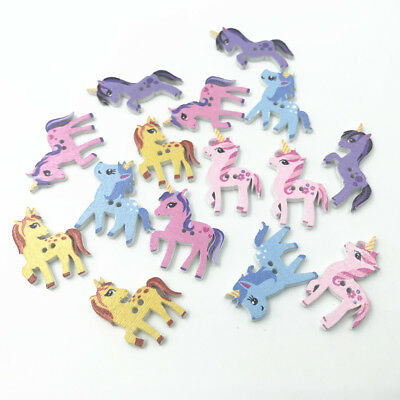 DIY Mixed Wooden Buttons Unicorn shape Scrapbooking Sewing Kid's crafts 25-29mm