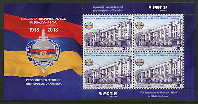 Armenia 2018 MNH Prosecutors Office 4v M/S Flags Justice Architecture Stamps