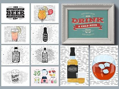 Retro Vintage Beer & Wine Posters For Kitchen / Man Cave / Home Bar Quote Prints