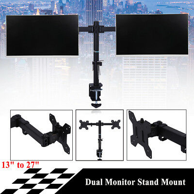 """Dual Monitor Stand Mount 2 Arms 360°Swivel LCD TV Bracket Holder 13-27"""" Home Use"""