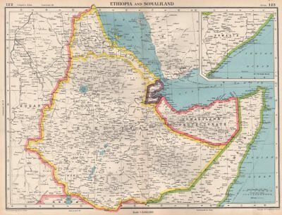 HORN OF AFRICA. Ethiopia French Somaliland Protectorate Somalia 1952 old map