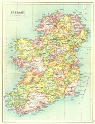 IRELAND. Showing counties. Cassells. 1909 old antique vintage map plan chart