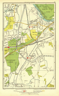 THAMES DITTON / LONG DITTON. Esher East Molesey Claygate Harelane 1937 old map