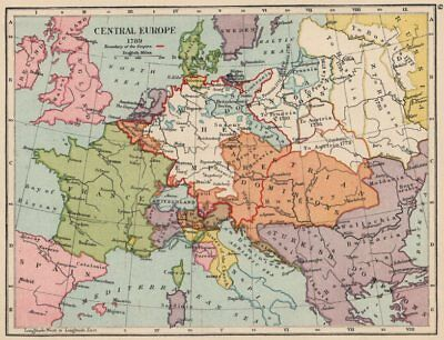 EUROPE IN 1789. Holy Roman Empire. Division of Poland 1907 old antique map