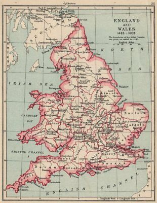 ENGLAND AND WALES 1485-1603. showing counties & towns 1907 old antique map
