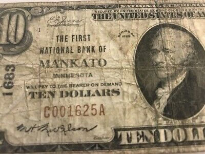1929 $10 Mankato, MN MINNESOTA First National Bank Serial 1625 Charter 1683