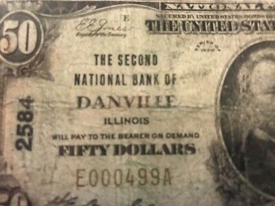1929 $50 SECOND NATIONAL BANK OF DANVILLE, IL ILLINOIS CH. 2584 Serial #499
