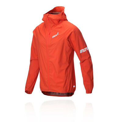Inov8 Mens Stormshell Full Zip Running Jacket Top Red Sports Outdoors Hooded