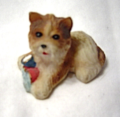 SHIH TZU Tan Brown puppy Dog Figurine Hand Painted Miniature