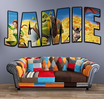Personalised Any Name Shrek Wall Decal 3D Art Stickers Vinyl Home Bedroom