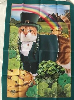 Willabee & Ward St Patricks Day 28x40 March Flag Cat Lucky Leprechaun Reversible