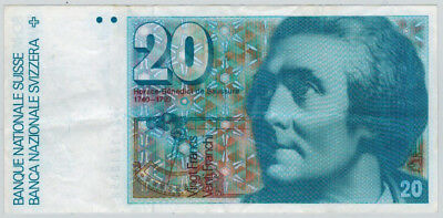 1982 Switzerland 20 Franc Note P-55d VF Condition