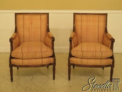 45228EC: Pair French Louis XVI Style Bergere Chairs w. Down Seats