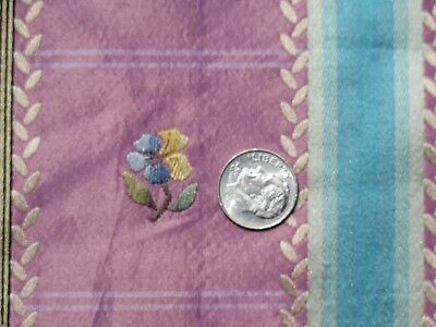 "French Antique Lavender & Turquoise Floral Silk Brocade Fabric Sample~29""LX25""W"