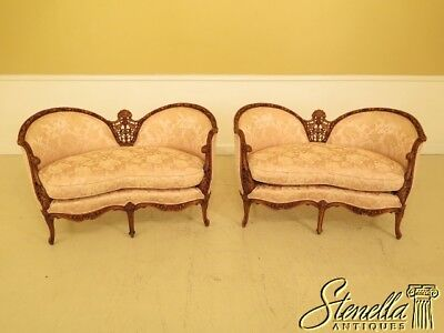 45013EC: Pair French Louis XV Style Carved Walnut Loveseats