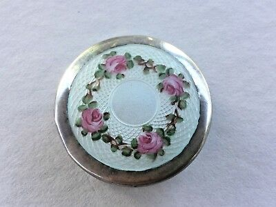 Antique vintage Sterling pill box white guilloche enamel with pink roses