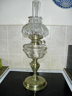 arts and craft period heavy brass and glass oil lamp(reduced to £110)