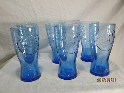 c1b5dc56ae57 6 VINTAGE MCDONALD S COCA COLA COBALT BLUE GLASS TUMBLER CUPS Collectable  Coke