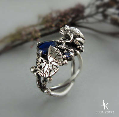 Trendy 925 Silver Sapphire Frog Jewelry Women Gift Anniversary Ring Size 5-10