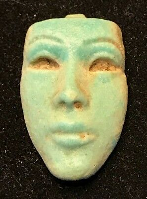 Ancient Egyptian Faience Face Amulet! Rare 18Th Dynasty 1550-1292 Bc!!
