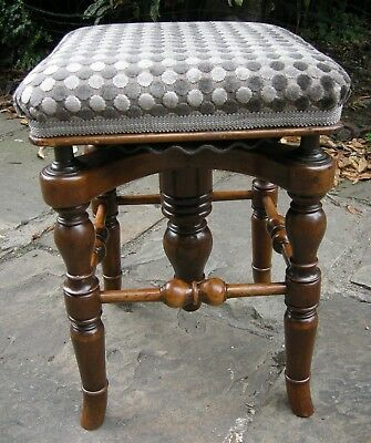 Victorian Walnut Square Adjustable Piano Stool THE RONDLET by Henry Brooks & Co.