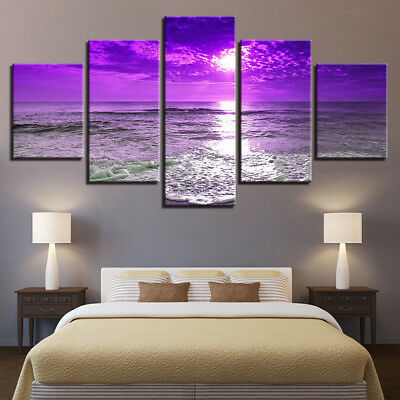 Framed Home Decor Picture Sunset Sea Waves Beach Canvas Prints Painting Art 5PCS