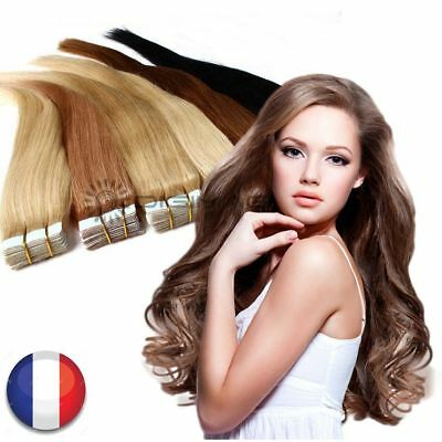 10-40 Extensions Cheveux Naturel A Froid Tape Bandes Adhesives Remy Hair 53-60Cm