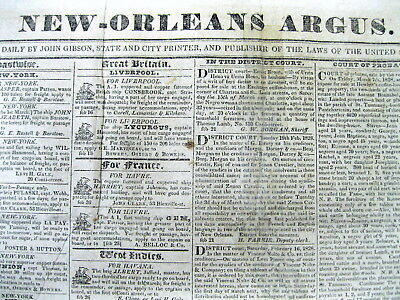 Rare original 1828 New Orleans Argus LOUISIANA newspaper w SLAVE ADS 190 yrs old