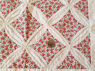 "Vintage Handmade Cathedral Window Quilt Hand Sewn 59"" x 79"""