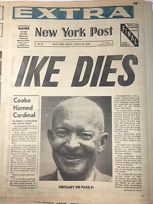 New York Daily News Ike Eisenhower Dies March 28 1969 Original Cover Some Pages