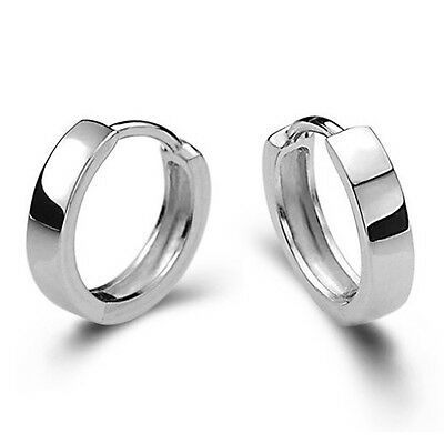 UK_ Men Women Gorgeous 925 Sterling Silver Smooth Round Hoop Trendy Earrings Gif