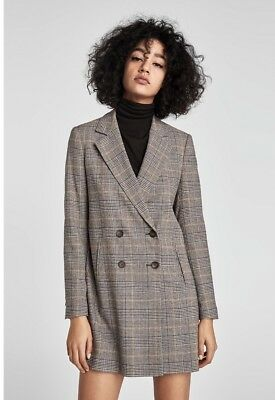 Zara Grey Wool Mix Checked Double Breasted Blazer Jacket Size L UK 14 Bnwt