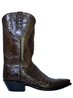 39b4b7dd3b0 LUCCHESE CLASSIC EXOTIC CAIMAN BELLY Black Cherry MEN BOOTS Round ...