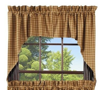 country cabin primitive rustic farmhouse Cambridge Mustard Swag curtains set
