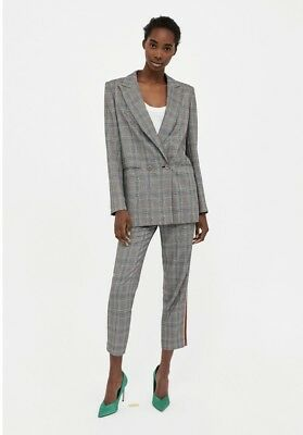 Zara Grey Checked Double Breasted Blazer Jacket Size L UK 14 Bnwt