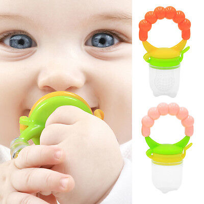 UK_ EG_ Portable Silicone Baby Toddler Food Feeder Teether Pacifier Feeding Tool