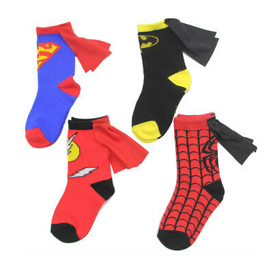 Unisex Kids Toddlers Children's Super Hero Socks with Caped Crew Socks