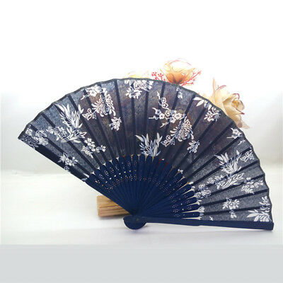 UK_ LC_ Women's Chinese Vintage Orchid Flower Silk Bamboo Folding Hand Fan Gift