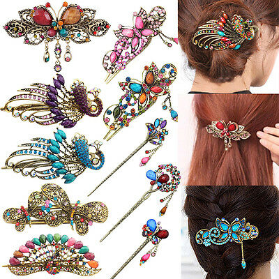 UK_ Women Flower Tassels Bowknot Hairpins Hair Clip Barrette Hair Accessary Pres