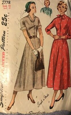 Vintage 40s Simplicity 2778 Button Dress Size 16 Sewing Pattern Women