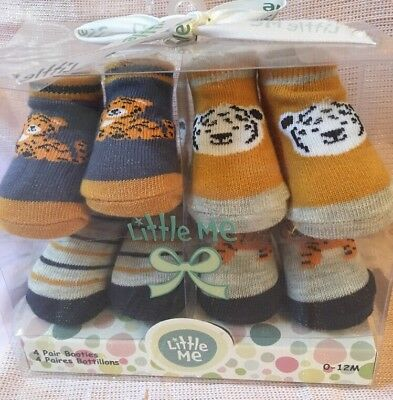 Little Me Tiger Baby Booties Socks 4 Pair Gift Box 0-12 Months
